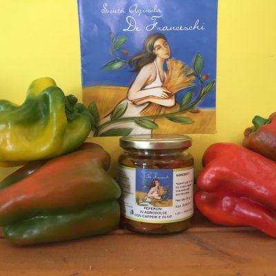 Peperoni in agrodolce con capperi e olive